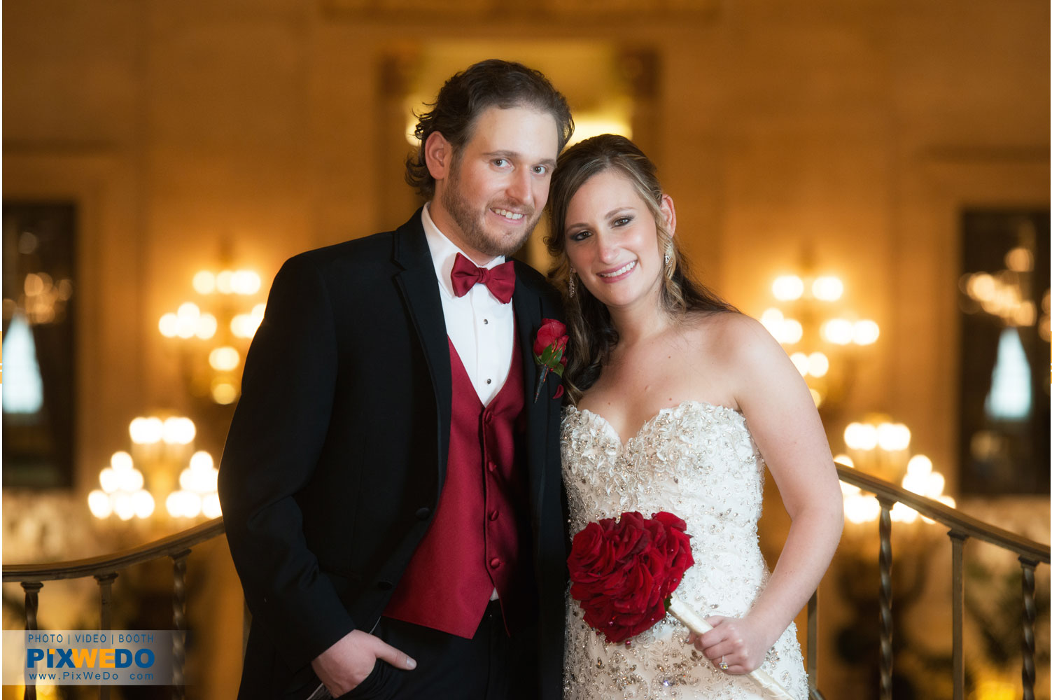 Bride and Groom at Palmer House Chicago