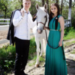 Engagement photosession with horse Morton Grove and Glenview