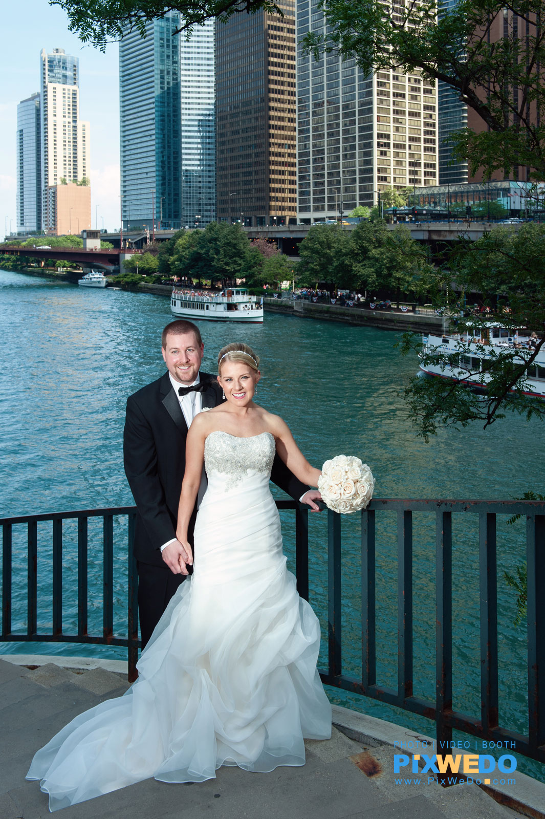 Bride and Groom at Chicago River and Michigan Ave Bridge